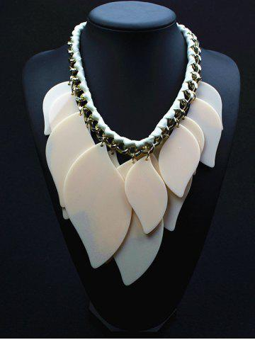 Geometry Leaves Statement Necklace - White