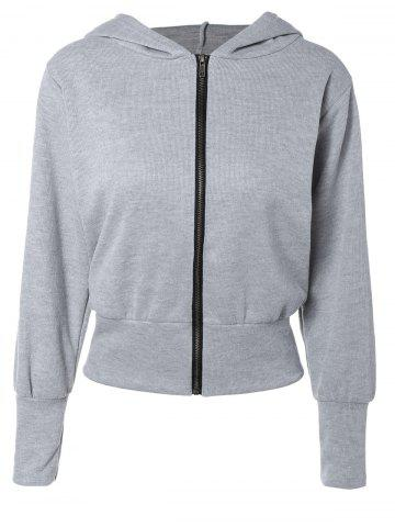 Long Sleeve Zip Up Hoodie - Light Gray - S