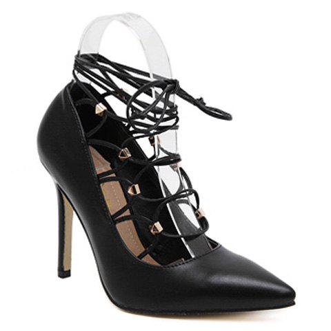 Shop Metal Cross Straps Tie Up Pumps BLACK 40