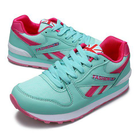 Hot PU Spliced Mesh Lace-Up Sneakers - 39 MINT GREEN Mobile