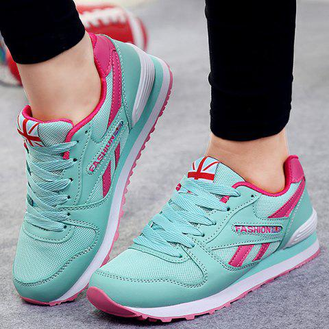 Trendy PU Spliced Mesh Lace-Up Sneakers MINT GREEN 39