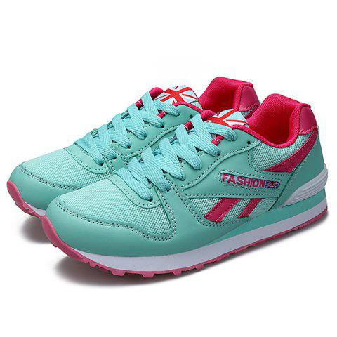 Hot PU Spliced Mesh Lace-Up Sneakers - 40 MINT GREEN Mobile
