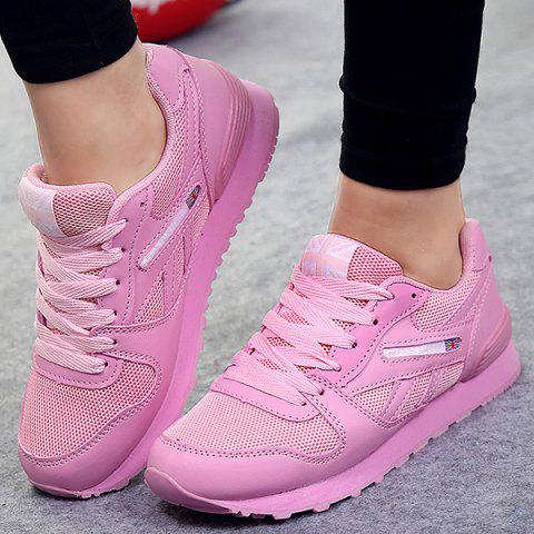 Sale PU Spliced Mesh Lace-Up Sneakers PINK 40