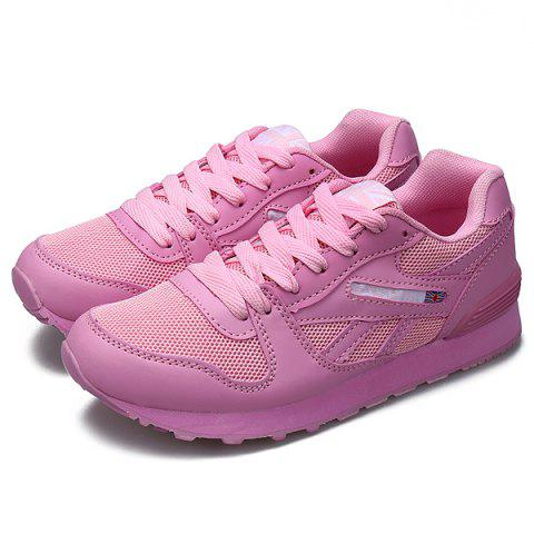 Fancy PU Spliced Mesh Lace-Up Sneakers - 40 PINK Mobile