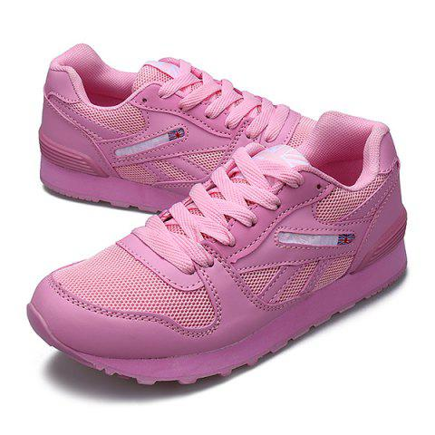 Hot PU Spliced Mesh Lace-Up Sneakers - 38 PINK Mobile