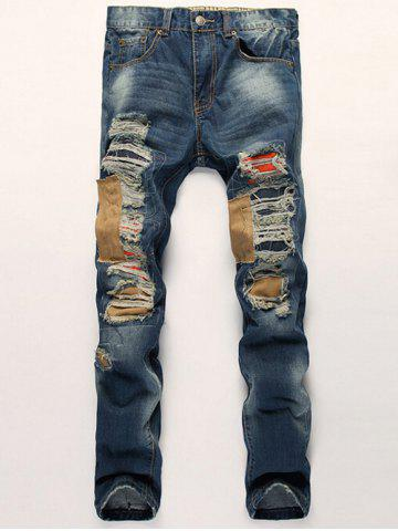 Buy Distressed Zipper Fly Patch Design Straight Leg Jeans BLUE 38