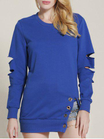 Outfit Cut Out Ripped Sleeve Chain Design Sweatshirt