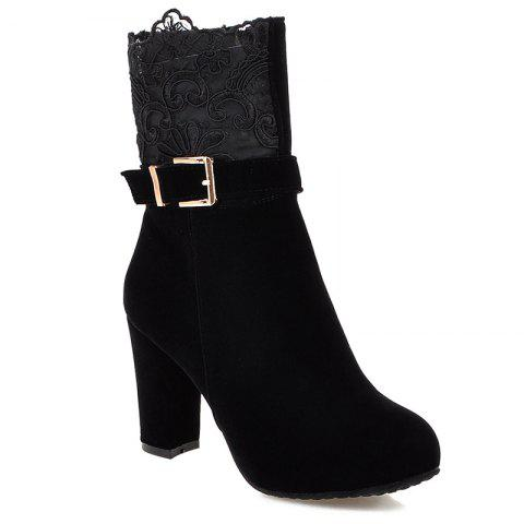 Shop Embroidery Chunky Heel Zipper Short Boots BLACK 43