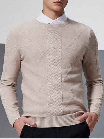 Waviness Jacquard Crew Neck Long Sleeve Sweater - KHAKI L