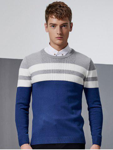 Unique Color Block Splicing Stripe Design Crew Neck Long Sleeve Sweater DEEP BLUE 5XL