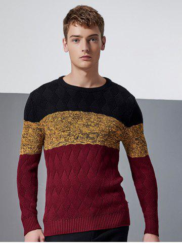 Outfit Color Block Splicing Knit Blends Argyle Crew Neck Long Sleeve Sweater