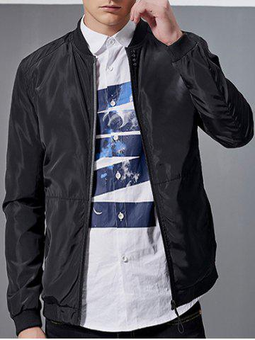 Stand Collar Printed Sleeve Zip-Up Bomber Jacket