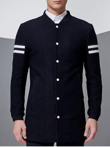 Chic Stand Collar Button Up Striped Sleeve Coat