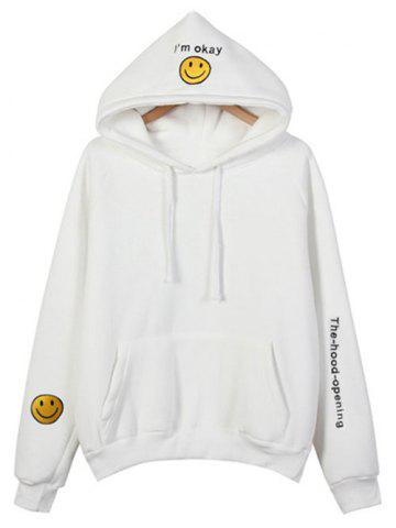 Online Embroidered Thickening Hoodie WHITE ONE SIZE