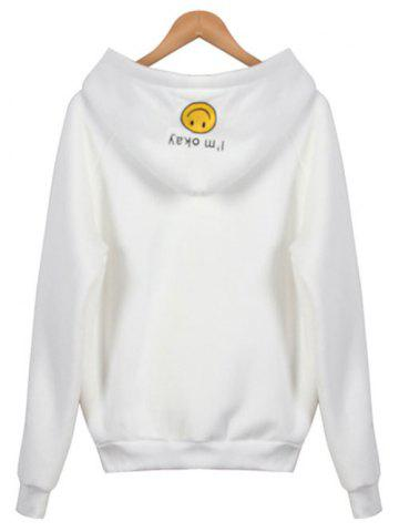 Latest Embroidered Thickening Hoodie - ONE SIZE WHITE Mobile