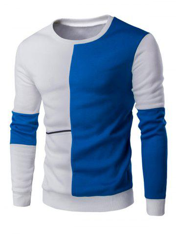 Chic Color Block Splicing Design Braid Embellished Sweatshirt BLUE AND WHITE 2XL