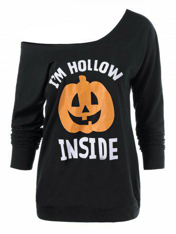 Hot Skew Neck Pumpkin Lamp Print Halloween T-Shirt