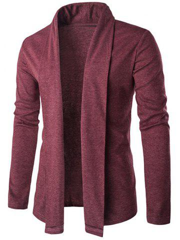 Trendy Slim Shawl Collar Long Cardigan RED 2XL