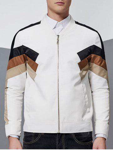 Chic Stand Collar Color Block Spliced Zip-Up Jacket