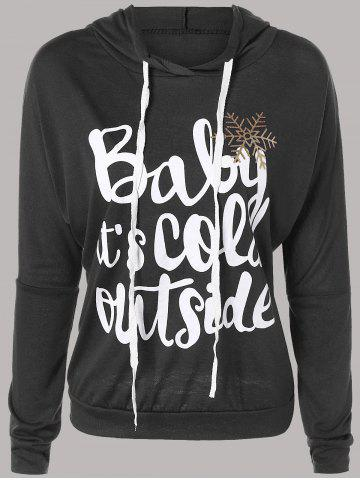 Cheap Letter Print Snow Pattern Plus Size Hoodie DEEP GRAY 2XL