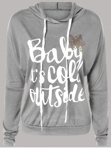 Trendy Letter Print Snow Pattern Plus Size Hoodie LIGHT GRAY L