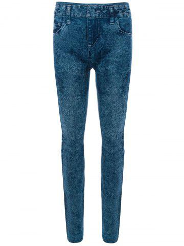 Sale Skinny Jeggings Faux Jean Leggings BLUE ONE SIZE