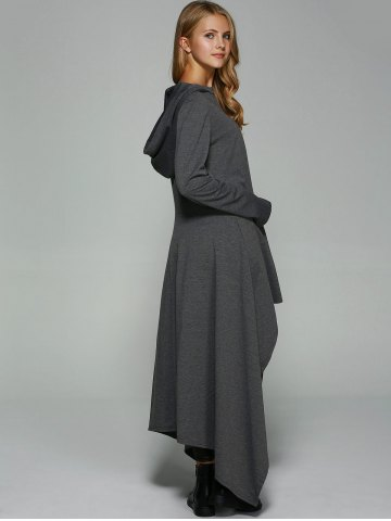 Discount Asymmetrical Loose-Fitting Hoodie - L DEEP GRAY Mobile