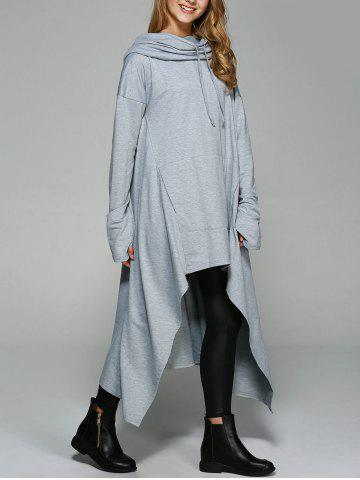 Chic Asymmetrical Pocket Design Loose-Fitting Neck Hoodie LIGHT GRAY XL