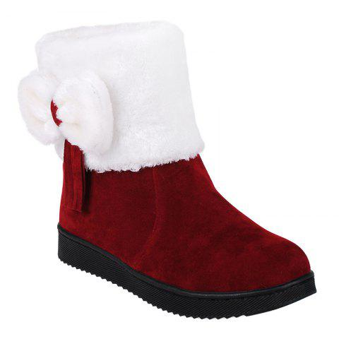 Trendy Fringe Bow Suede Snow Boots DEEP RED 39
