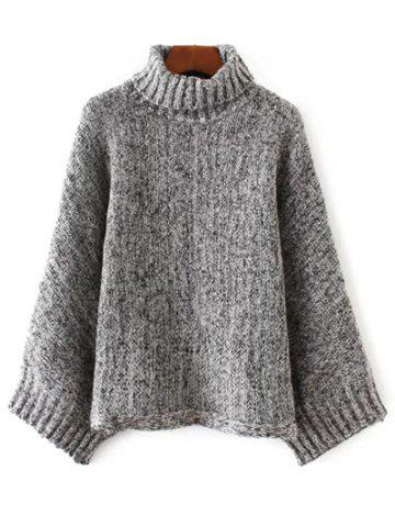 Online Turtle Neck Marled Batwing Sweater BLACK/GREY ONE SIZE