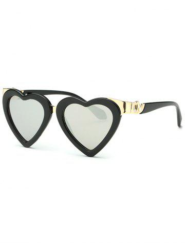 New Cool Heart Shape Mirrored Beach Sunglasses SILVER