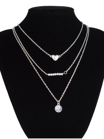 Chic Heart Beads Life Tree Layered Necklace - SILVER  Mobile