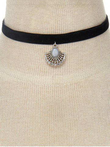Shop Faux Leather Velvet Rhinestone Geometric Choker