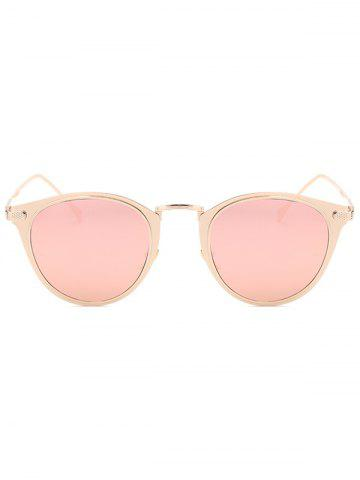 Cheap Cool Metal Cat Eye Mirrored Sunglasses - PINK  Mobile