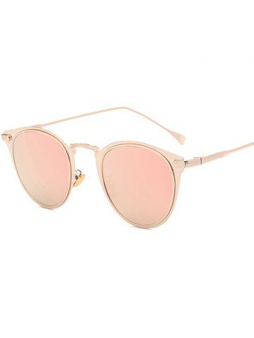 Trendy Cool Metal Cat Eye Mirrored Sunglasses PINK