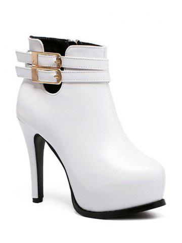 Online Platform Stiletto Heel Double Buckle Ankle Boots