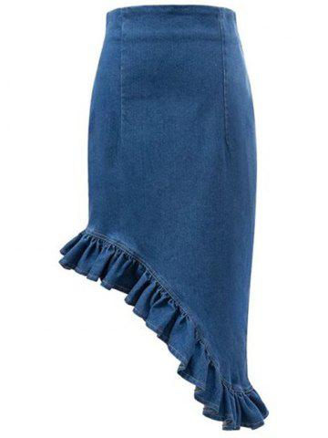 Outfits Falbala Asymmetrical High Waisted Denim Skirt