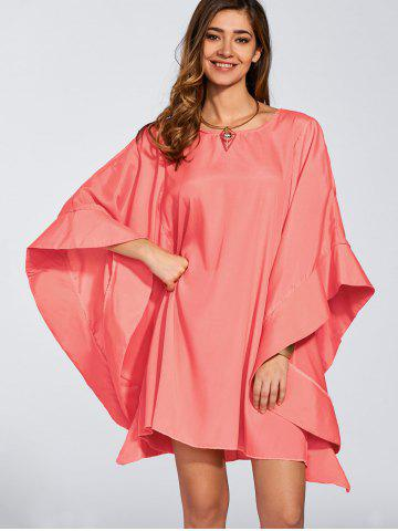 Outfit Dolman Casual Kimono Sleeve Short Dress - M WATERMELON RED Mobile