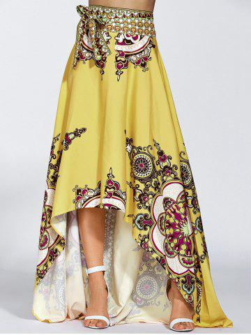 Unique High Waisted High Low Hem Skirt YELLOW M