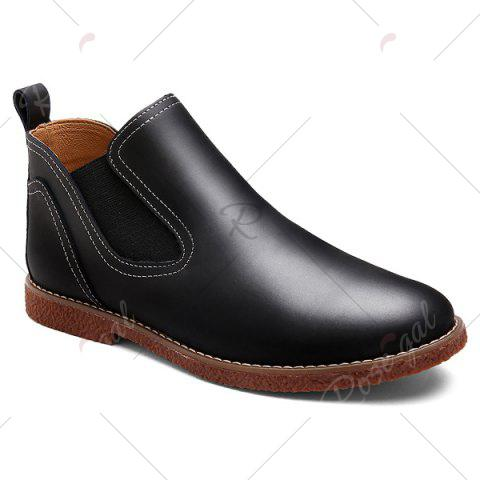 Buy Slip-On Stitching PU Leather Ankle Boots - 41 BLACK Mobile