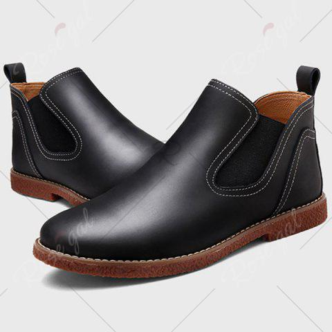 Cheap Slip-On Stitching PU Leather Ankle Boots - 42 BLACK Mobile