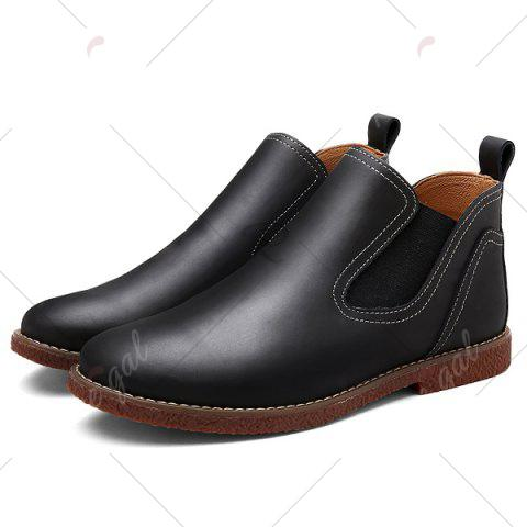 Cheap Slip-On Stitching PU Leather Ankle Boots - 40 BLACK Mobile
