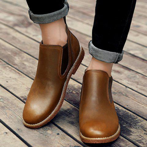 Slip-On Stitching PU Leather Ankle Boots
