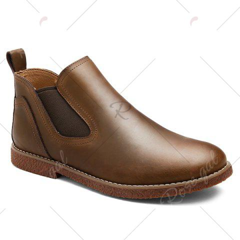 Trendy Slip-On Stitching PU Leather Ankle Boots - 40 BROWN Mobile