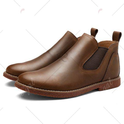 Shop Slip-On Stitching PU Leather Ankle Boots - 40 BROWN Mobile