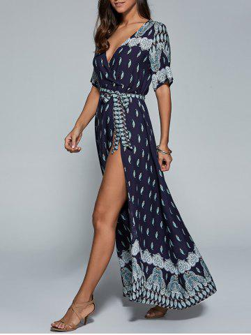Fancy High Slit Pattern Maxi Low Cut Wrap Dress