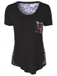Single Pocket Leopard Asymmetrical T-Shirt - BLACK