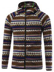 Raglan Sleeve Zipper Up Tribal Printed Hoodie