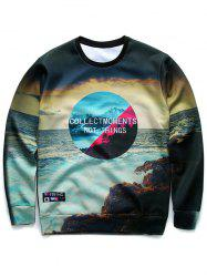 3D Letter and Sea Print Round Neck Long Sleeve Sweatshirt