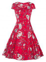 Retro Skull Printed Flare Dress - RED 2XL